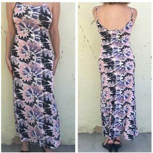 Dresses & Skirts - Tie Dye print MAXI DRESS bodycon LONG BOHO TUBE M